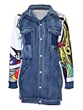 WSPLYSPJY Women Fashion Long Sleeve Printed Distressed Denim Coat Paneled Party Punk Hip Hop Jacket Blue S