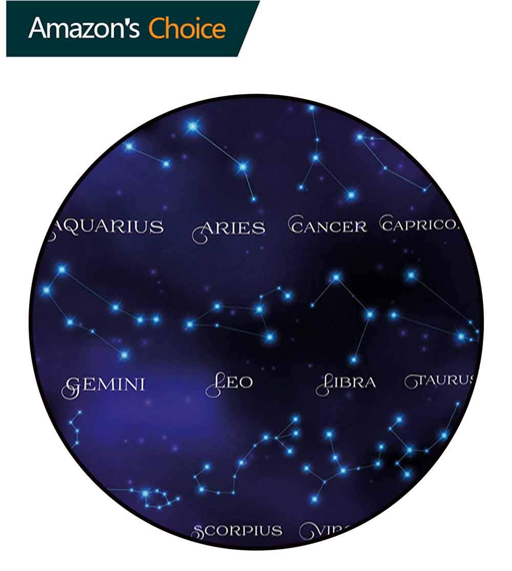RUGSMAT Constellation Carpet Gray Round Area Rug,Dark Night Sky Star Groups of Zodiacal Circle Styled Letters Pattern Floor Seat Pad Home Decorative Indoor,Round-71 Inch Dark Blue Pale Blue Purple