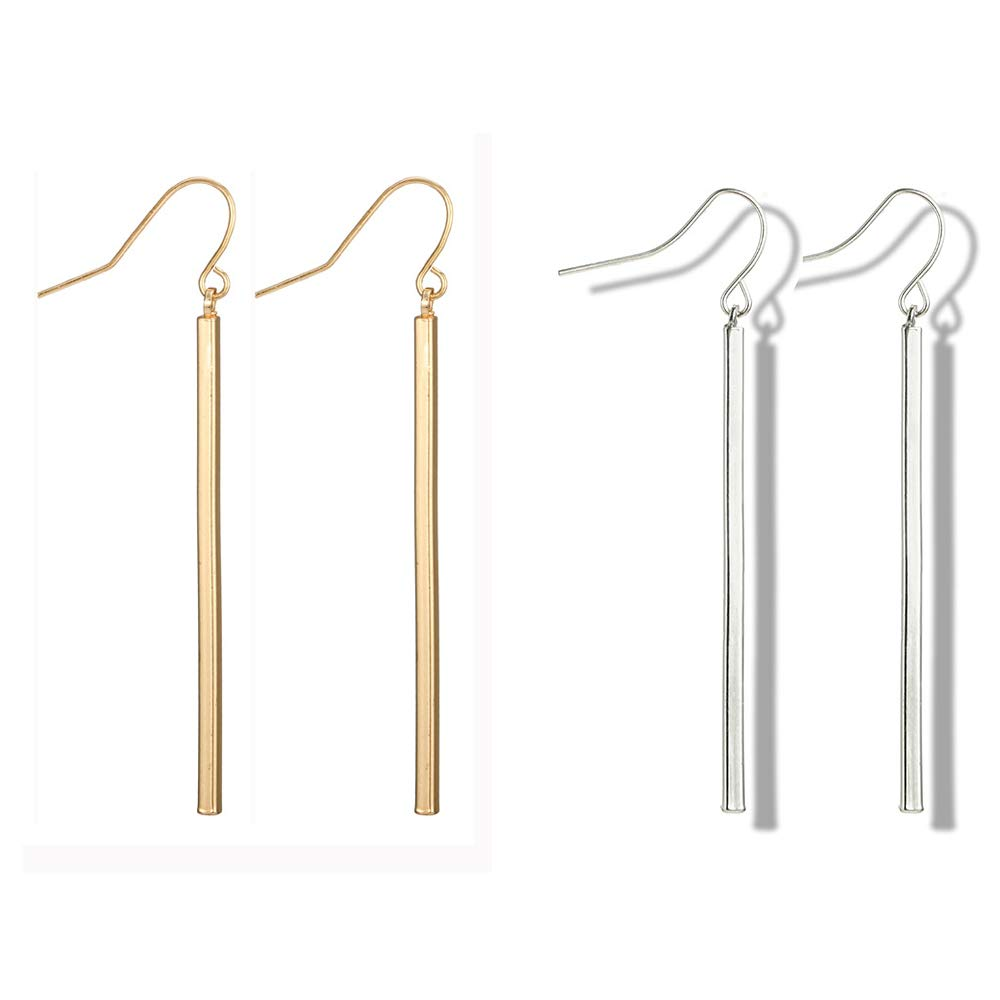 Punk Simple Style Gold/Silver Plated Lightning Long Exaggerated Square Geometric Stick Drop Dangle Earring For Women Jewelry (Gold+Silver)