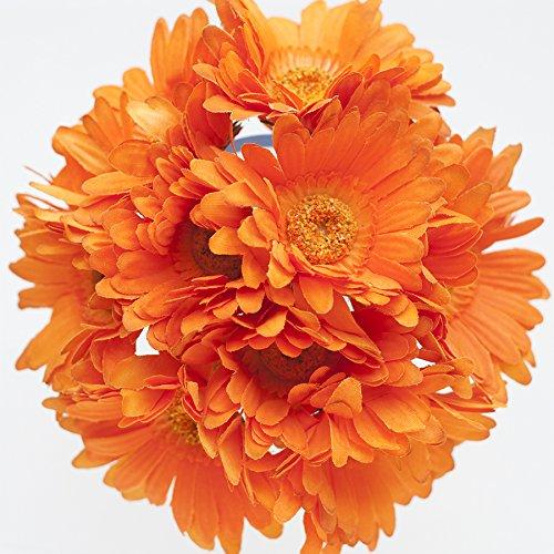 Orange Silk Gerbera Daisy Bouquet - Wedding Party Flowers Arrangements Gift