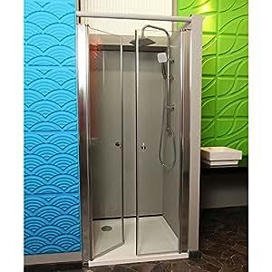 Home Deluxe Lavea - Mampara de ducha abatible con doble puerta y cristal de seguridad (80 x 195 cm, aluminio pulido)