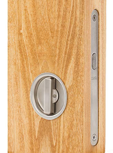 (Omnia 3910 Mortise Lock for Wood Pocket Doors, Brushed Stainless Steel)