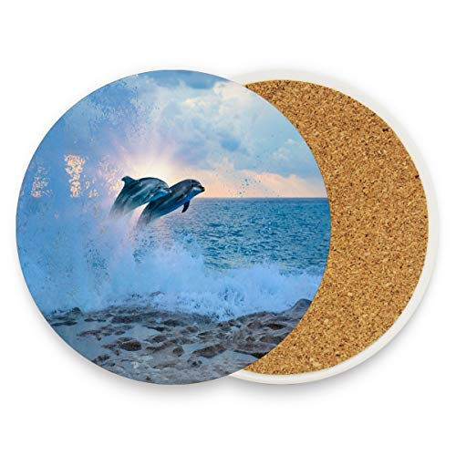 (Ocean Wave Dolphin Coasters, Protect Your Furniture from Stains,Coffee, Wood Coasters Funny Housewarming Gift,Round Cup Mat Pad for Home, Kitchen or Bar 1 piece)