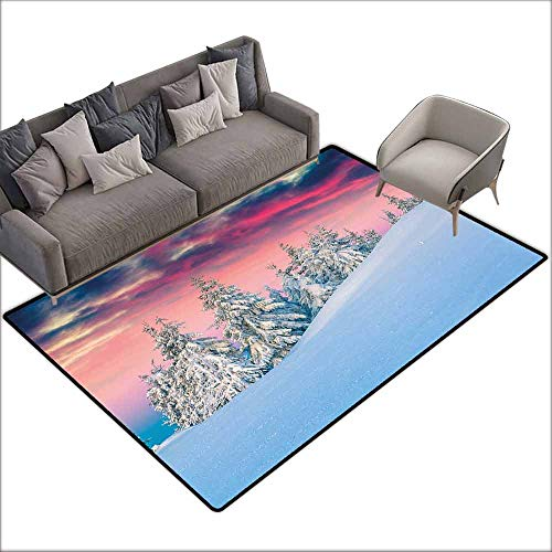 (Door Rug Indoors Winter Idyllic Scenery in Snow Covered Mountains Pine Tree Forest Majestic Sky Serenity Super Absorbent mud W5' x L6'10)