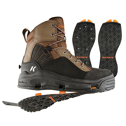 Korkers BuckSkin Wading Boot with Kling-On and Studded Kling-On Outsoles, Chocolate Chip/Black, -
