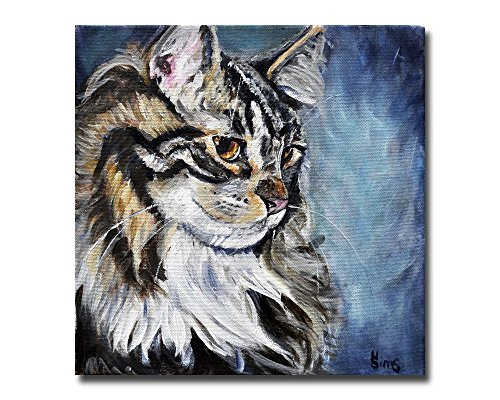 Maine Cat Coon Art - Cat art print, Maine Coon Giclee, Gift idea, Gallery Wall for Animal Home Decor, size/mat option