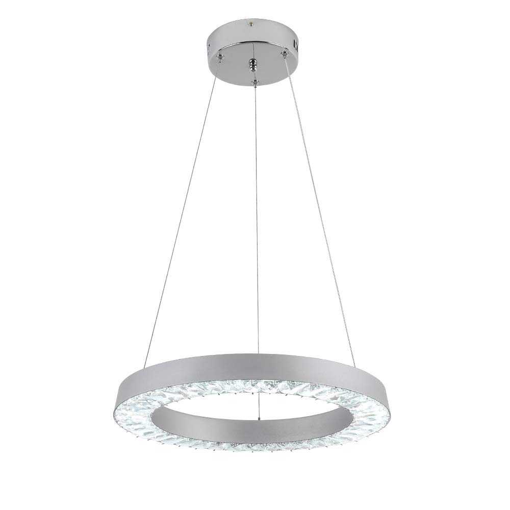 E&Green Silver LED Crystal Chandelier Crystal Pendant Light 36W LED Round Pendant Lights Hanging Lighting Fixture for Living Room Bedroom Kitchen Dining Room (Silver)