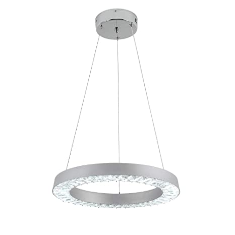 premium selection 0f238 8c2b8 E&Green Modern LED Crystal Pendant Lights, Silvery Indoor Hanging Light  Round 36W Living Room Dining Room Lights