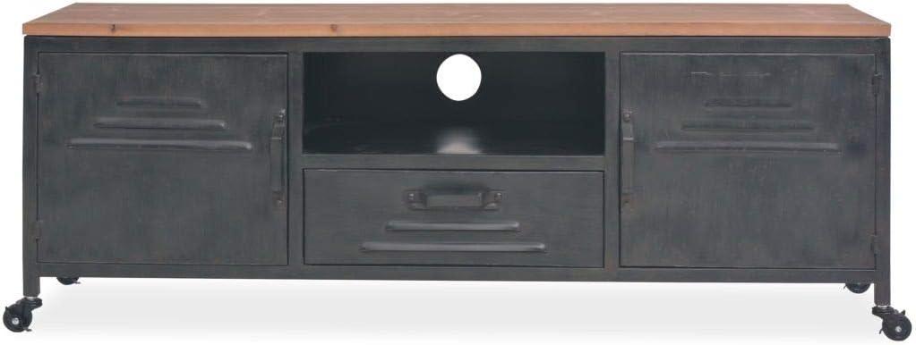 Galapara Industrie Meuble Tv Buffet Bas 120x30x43 Cm Design Industriel Avec Tiroir Noir Socle De Television Support De Television Pour Salon