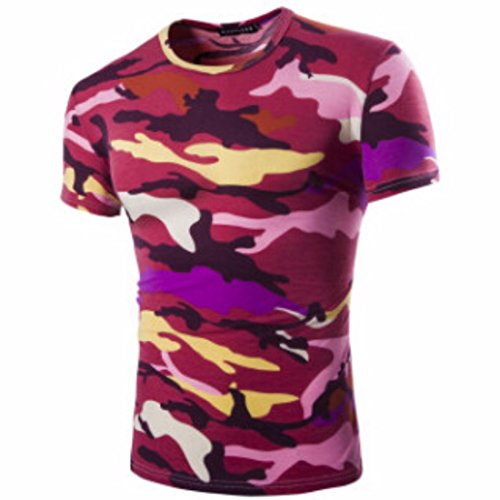 Men's Camouflage Military US Army Tactical O Neck Tee Shirt red / L