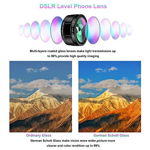 Phone Camera Lens,TODI 9 in 1 Wide Angle Lens,Macro Lens,Fisheye Lens,Telephoto Lens,CPL Lens, Kaleidoscope and Starburst Lens Compatible iPhone,Samsung, Most Andriod Phones by TODI (Image #2)