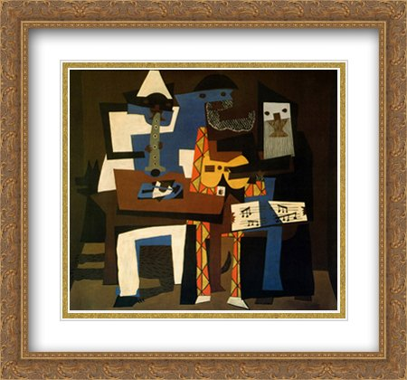 Three Musicians 2x Matted 30x28 Large Gold Ornate Framed Art Print by Picasso, (Pablo Three Musicians Framed Art)