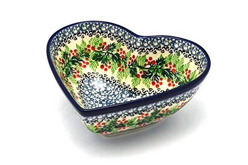 Polish Pottery Bowl - Deep Heart - Holly Berry by Polish Pottery Gallery