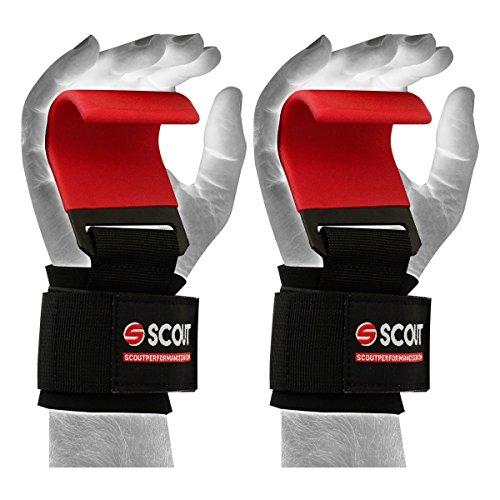 ScoutPerformanceGear SPG Premium Metal Lifting Steel Hooks Straps WeightLifting Training Bar Straps Double Stitching Non-Slip Neoprene Padded (Red) by ScoutPerformanceGear