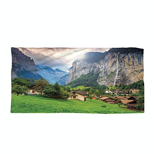 iPrint Cotton Microfiber Beach Towel,Farm House Decor,Town by The Rocks on Waterfall Background European Peaks Sunlight The Alps,Green Grey,for Kids, Teens, and Adults