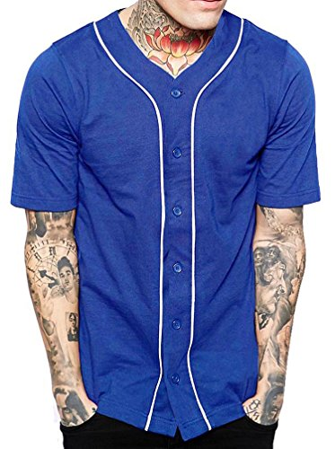 Chicago Softball (Mens Baseball Button Down Jersey Hipster Hip Hop T Shirts 1UPA01 02 (X-Small, Royal/White))