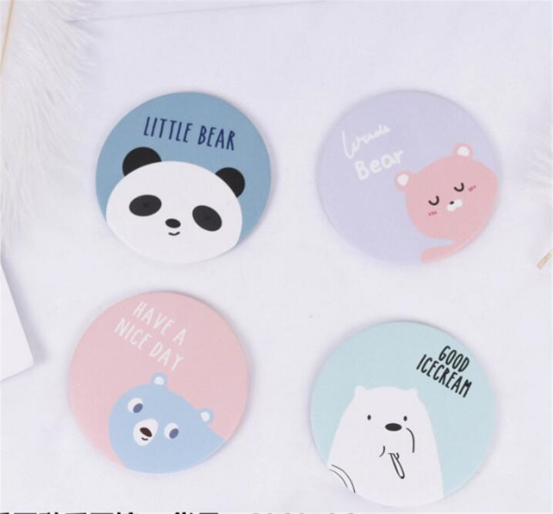 Yingealy Childrens Mirror Mini Round Cartoon Soft Bear Park Pattern Small Glass Mirrors Circles for Crafts Decoration Cosmetic Accessory