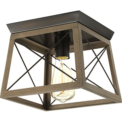 Mount Light 1 Flush Semi (Progress Lighting P350022-020 Briarwood Antique Bronze One-Light Flush Mount)