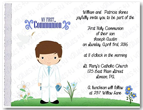 Personalized Communion Invitations (communion boy2027) (sold in packs of 12)