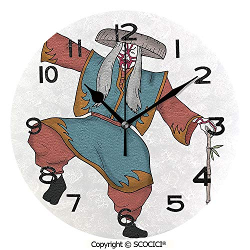 SCOCICI 10 Inch Round Face Silent Wall Clock Cultural Asian Character Posing Traditional Hat Makeup and Costume Decorative Unique Contemporary Home and Office Decor]()