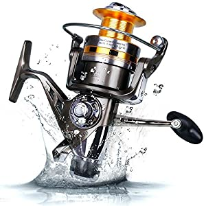 Sougayilang Freshwater Saltwater Spinning Fishing Reels with 5.2:1 Gear Ratio 9+1bb Metal Body Left/right Handle Bait Runner Reel