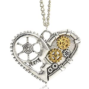 AILUOR Steampunk Gear Pendant Necklace, Punk Vintage Gothic Love Heart Owl Butterfly Bee Insect Chain Sweater Pendant Necklace Jewelry for Women Girl