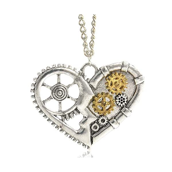 AILUOR Steampunk Gear Pendant Necklace, Punk Vintage Gothic Love Heart Owl Butterfly Bee Insect Chain Sweater Pendant… 3