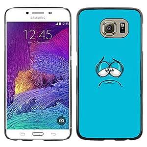 [Neutron-Star] Snap-on Series Teléfono Carcasa Funda Case Caso para Samsung Galaxy S6 [Cara azul de la historieta de la aguamarina minimalista]