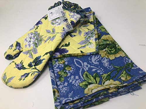 April Cornell Yellow and Blue Floral Ruffled Oven Mitt, Potholder,2 Tea Kitchen Towels
