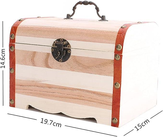 Exquisite Wooden Storage Box Treasure Piggy Bank Jewelry With Keys Money Case