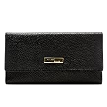 Genuine Leather Wallet Womens Clutch Trifold 11 Card Slots With ID Window RFID Blocking