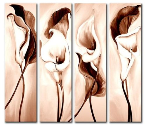 Sangu 4-Piece Flowers Oil Painting Gift, Pink Oil Paintings Gift Canvas Wall Art Paintings For Living (Buy Bob Ross Painting Original)