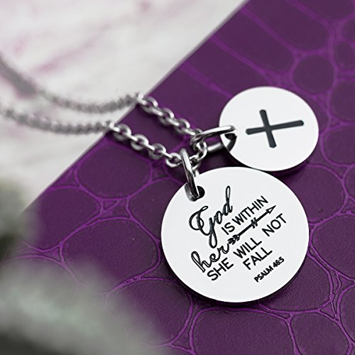 omodofo Christian Necklace Bible Verse Pendant Prayer Charm Necklace for Women Girls (god is within her she will not fall) by omodofo (Image #2)