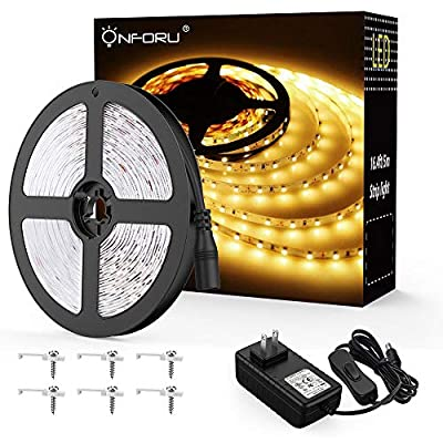 Onforu 16.4ft LED Strip Lights Kit, 300 Units SMD 2835 LEDs, UL Listed Power Supply, 12V Under Cabinet Lighting Strips, 5M LED Ribbon, 3000K Warm White, Non-Waterproof Tape