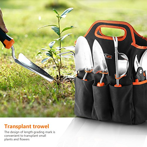 TACKLIFE Garden Tools Set, 7 Piece Stainless Steel Heavy Duty Gardening kit with Soft Rubberized Non-Slip Handle -Durable Storage Tote Bag and Pruning Shears - Garden Gifts for Men & Women GGT4A by TACKLIFE (Image #4)