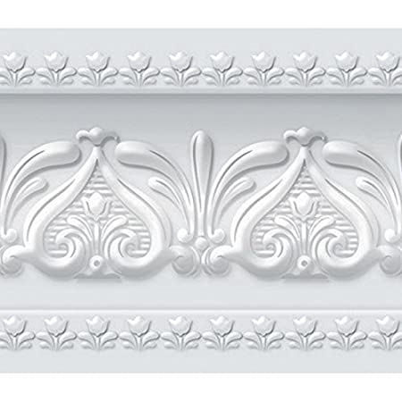 FIXPIX Royal Tulip Peel And Stick Wall Border Easy To Apply Neutral Gray