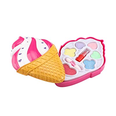 aoixbcuroc Kids Girl Princess Makeup Cosmetic Suit Toys Box Ice Cream Shaped Beauty Bag Pretend Play for Travel: Juguetes y juegos
