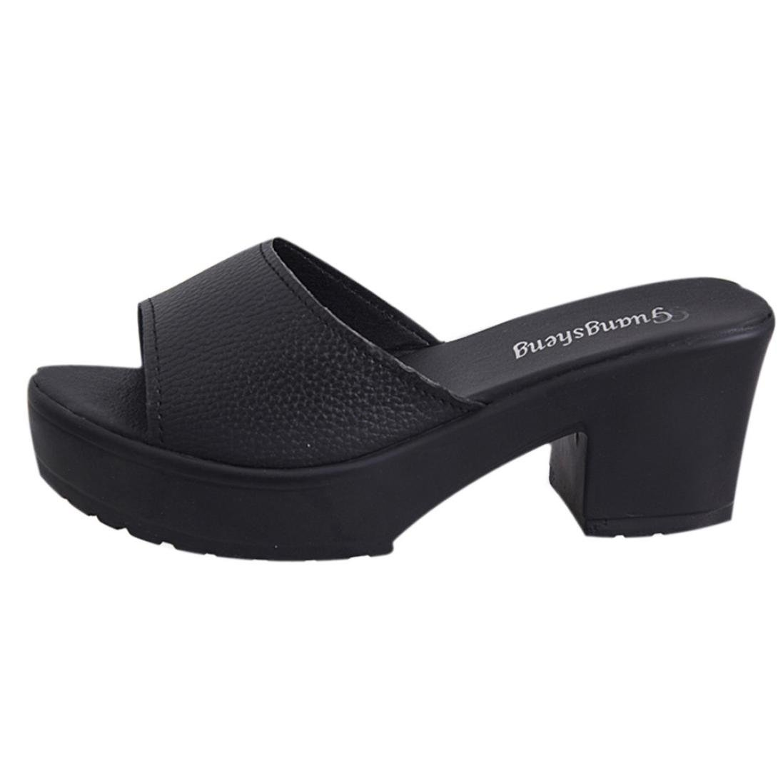 YANG-YI Clearance Women High Heeled Platform Soft Wedges Flip Flop Sandals (Black, US-8)