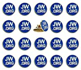 PHAETON 20PCS Round Blue Lapel Pin - JW.org Neck Tie Hat Tack Clip Women or Men Suits-Gold Round Jehovah Witness Lapel Pin: more info