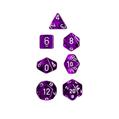 Chessex Dice Polyhedral 7-Die Translucent Dice Set - Purple/White: Toys & Games