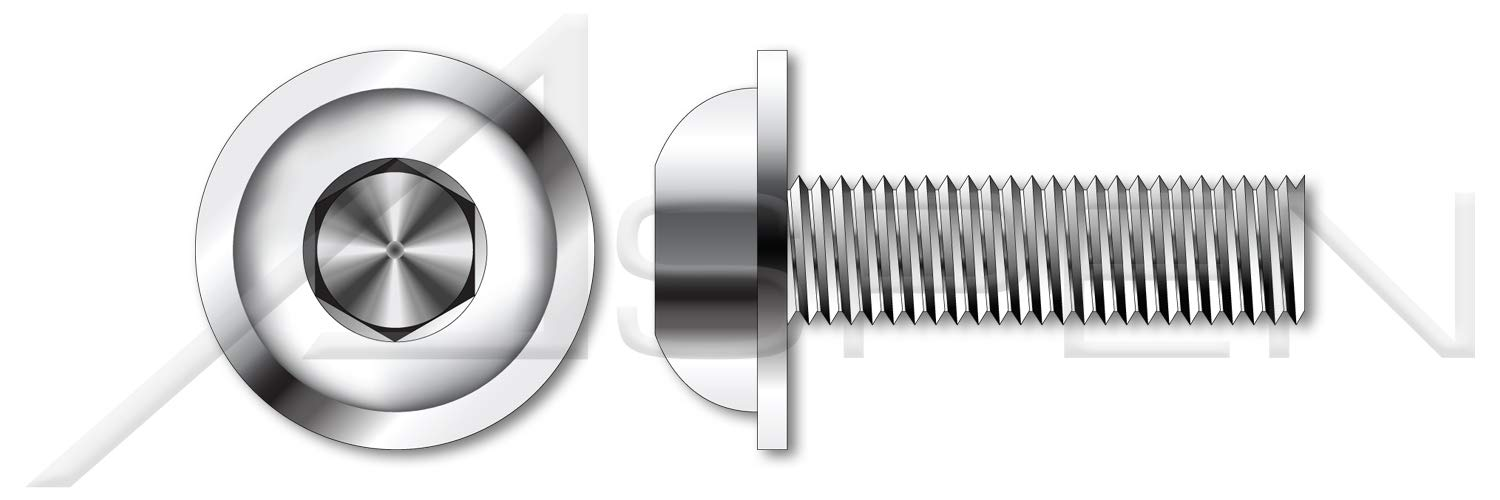 (750 pcs) 1/4''-20 X 1/2'', Flanged Button Head Hex Socket Cap Screws, Full Thread, AISI 304 Stainless Steel (18-8) by ASPEN FASTENERS