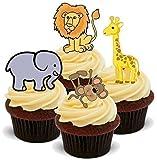 Adornos de Pie Comestibles para Cupcakes Marca The Baking Girls - Con Forma de Animal, León, Tigle, Elefante, Cebra, Jirafa - 12 Imágenes en 2 Láminas Tamaño A5