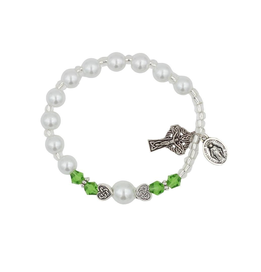 Christian Living Girls Irish Celtic Stretch Rosary Bracelet with Celtic Crucifix