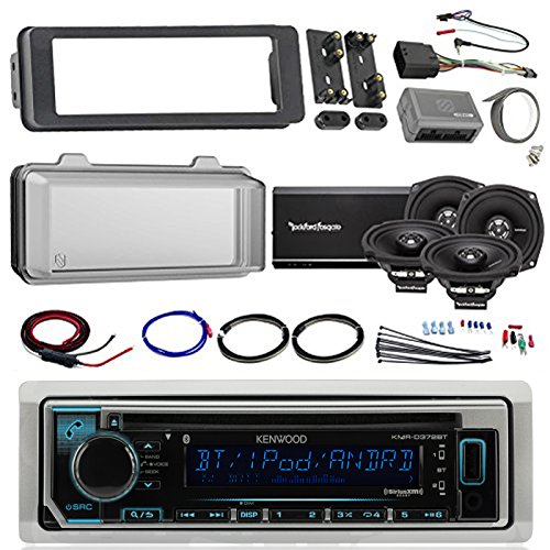 Harley Audio Package Of Kenwood KMR-D365BT Bluetooth CD MP3 Stereo Receiver Bundle Combo With Dash Trim Kit + Radio Cover + 4x 5.25