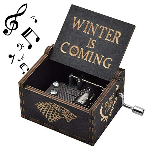 (fezlens Game of Thrones Box Music, Hand Crank Engraved Box Music Best Gift for Birthday Christmas)