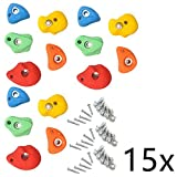 Reelva Climbing Stones 80mm Kids Mixed Colour Wall Rock Holds Grip With Fixing Set of 15pcs