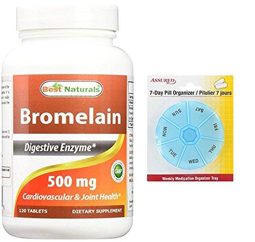 Amazon.com: Mejor naturales suplementos de enzimas digestivas proteolíticas bromelina, 500 mg, 120 tabletas con gratis 7 días plástico píldora ...