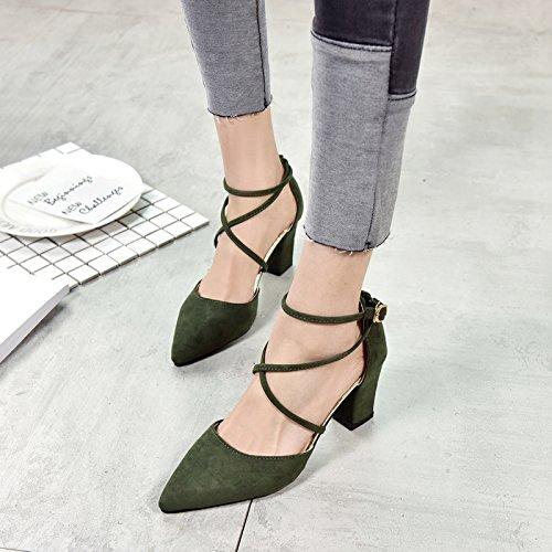 Rome Shoeshaoge Bouche Talon Pointe Sangle Chaussures Femmes Haut wPxqwATS