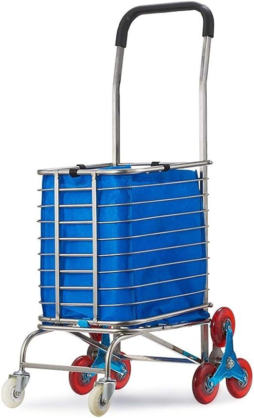 Carro de la compra plegable de aluminio, 132 lb Escalera liviana Escalera para uso general Carretilla con ruedas, Bolsa de lona impermeable, Lavandería ideal, supermercado, camping y eventos deportivo: Amazon.es: Hogar