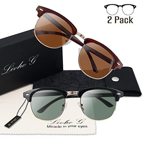 Livhò G 2 Pack of Polarized Sunglasses Women Men Semi Rimless Frame Retro Classic Sun Glasses (Red Brown+Black - 2017 Hipster Glasses